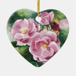 0520 Pink Roses Ceramic Ornament