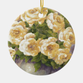 0548 Yellow Roses in Pitcher Ceramic Ornament