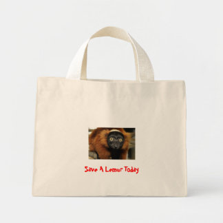 080725-red-ruffed-02, Save A Lemur Today Mini Tote Bag