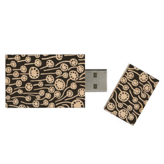 090512 White and Black Wood USB 2.0 Flash Drive