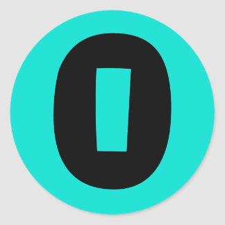 0 Large Round Turquoise Number Stickers by Janz