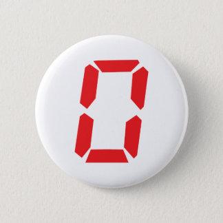 0 red alarm clock number digital zero 6 cm round badge