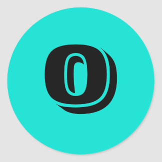 0 Small Round Turquoise Number Stickers by Janz