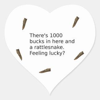 1000 Bucks And a Rattlesnake (Feeling Lucky?) Heart Sticker