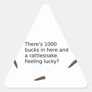 1000 Bucks And a Rattlesnake (Feeling Lucky?) Triangle Sticker