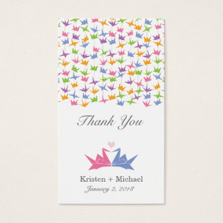 1000 Hanging Origami Paper Cranes Wedding Business Card