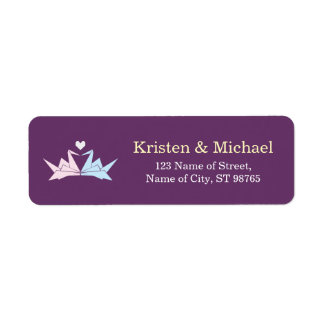 1000 Hanging Origami Paper Cranes Wedding (Purple) Return Address Label