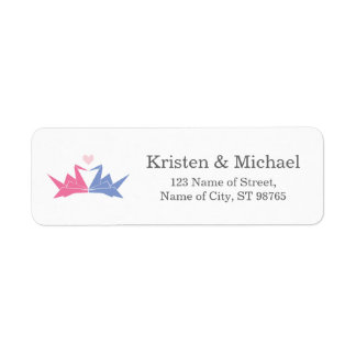 1000 Hanging Origami Paper Cranes Wedding Return Address Label