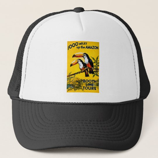 1000 Miles Up The Amazon- Vintage Travel Poster Trucker Hat