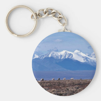 1002 Area: Caribou with mountain backdrop Key Chain