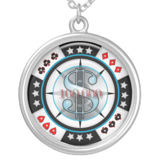 $100,000.00 Gambling Poker Chip Silver Plated Necklace