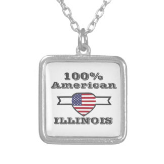 100% American, Illinois Silver Plated Necklace
