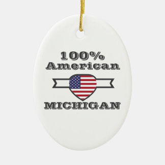 100% American, Michigan Ceramic Oval Decoration