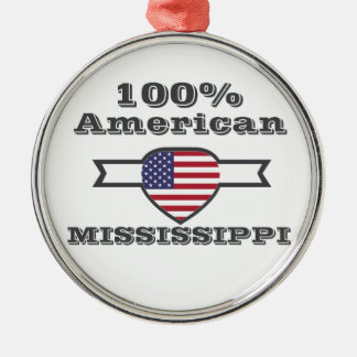 100% American, Mississippi Silver-Colored Round Decoration