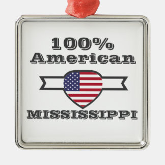 100% American, Mississippi Silver-Colored Square Decoration