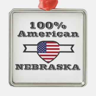 100% American, Nebraska Metal Ornament