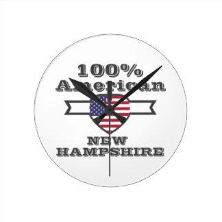 100% American, New Hampshire Round Clock