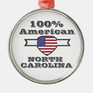 100% American, North Carolina Metal Ornament