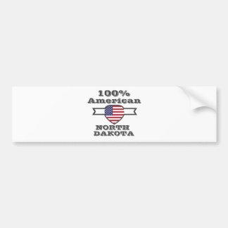 100% American, North Dakota Bumper Sticker