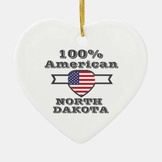 100% American, North Dakota Ceramic Heart Decoration