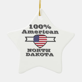 100% American, North Dakota Ceramic Star Decoration