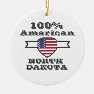 100% American, North Dakota Round Ceramic Decoration