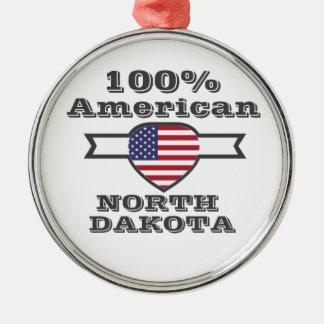 100% American, North Dakota Silver-Colored Round Decoration