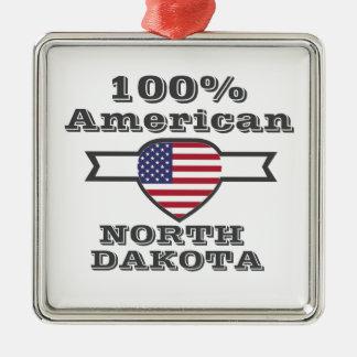 100% American, North Dakota Silver-Colored Square Decoration