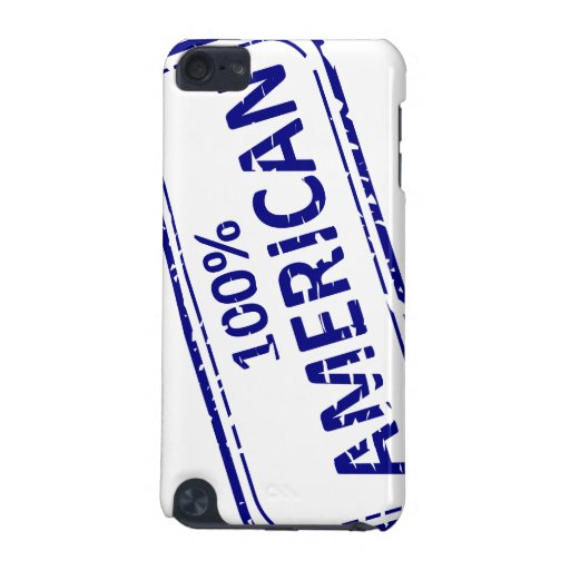 100% AMERICAN Rubber-stamp blue on white iPod Touch 5G Cases