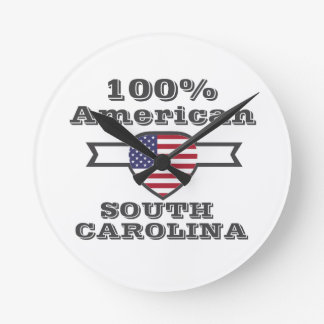 100% American, South Carolina Round Clock