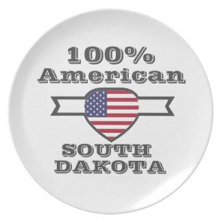 100% American, South Dakota Party Plate