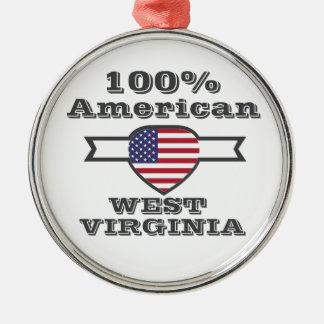 100% American, West Virginia Metal Ornament
