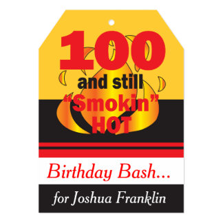 100 and Still Smokin Hot   100th Birthday 13 Cm X 18 Cm Invitation Card