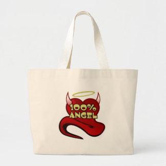 100% Angel Devil Heart Jumbo Tote Bag