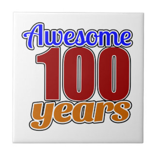 100 Awesome Birthday Small Square Tile