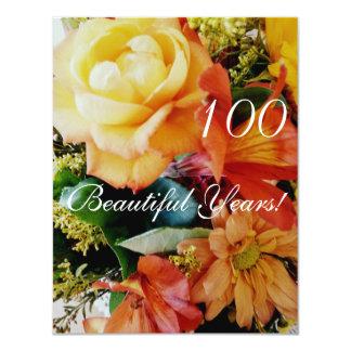 100 Beautiful Years!-Birthday/Yellow Rose Bouquet 11 Cm X 14 Cm Invitation Card