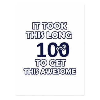 100 birthday design postcard