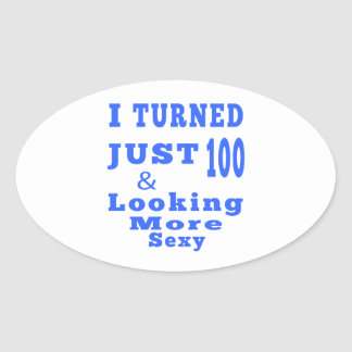 100 birthday designs oval sticker