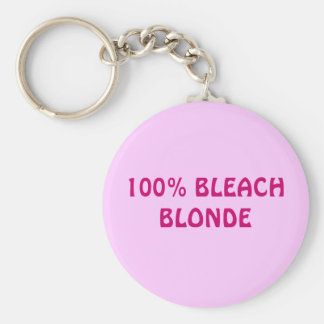 100% BLEACH BLONDE BASIC ROUND BUTTON KEY RING