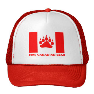 100% Canadian Bear Canadian Flag Red Bear Paw Cap