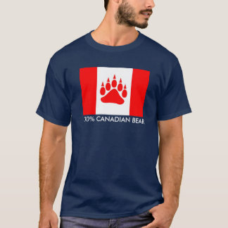 100% Canadian Bear Canadian Flag With Bear Paw T-Shirt