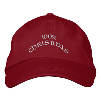 100% Christmas Embroidered Hat