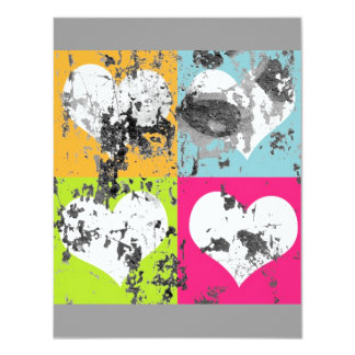 "100 COLORFUL GRUNGE LOVE HEARTS SQUARES GREY GRAY 4.25"" X 5.5"" INVITATION CARD"