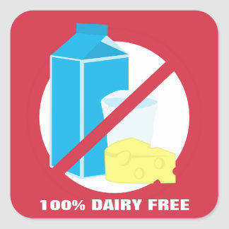 100% Dairy Free Food Allergy Alert Label Square Sticker