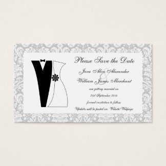 100 Damask Save the Date Cards Cute Bride & Groom