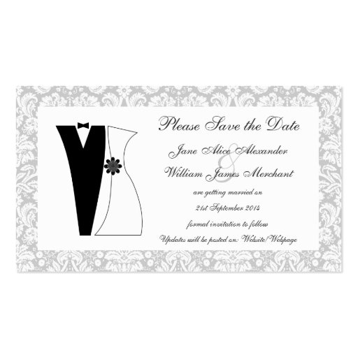 100 Damask Save the Date Cards Cute Bride & Groom Business Cards