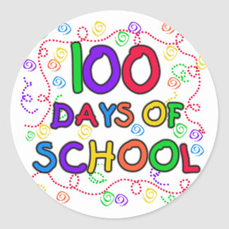 100 Days of School Confetti Round Sticker