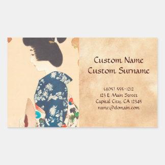 100 Figures of Beauties Wearing Takasago Kimonos Rectangular Sticker