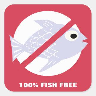 100% Fish Free Alert No Fish Symbol Personalized Square Sticker