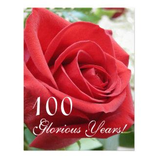 100 Glorious Years -Birthday Celebration Red Rose Invitation